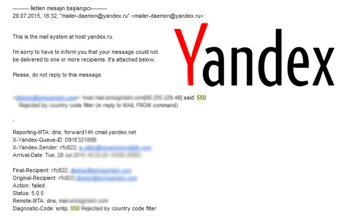 SOLVED - Yandex said- 550 Rejected by country code fliter (in reply to MAIL FROM command)