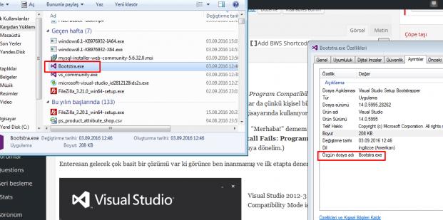 Visual Studio Install Fails: Program Compatibility Mode is on Error Solution Çözümü